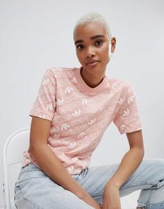Розовая футболка с принтом adidas Originals - Розовый