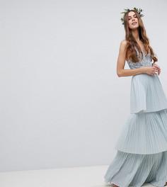 Платье макси с ярусной плиссированной юбкой Maya Tall - Синий