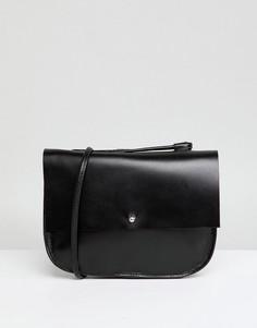 Кожаная сумка-седло с заклепками ASOS - Черный