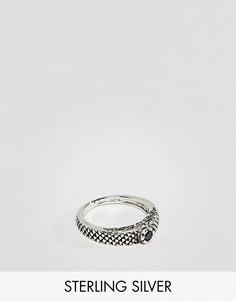 Серебряное кольцо с тисненым узором змеи и камнем ASOS DESIGN - Серебряный
