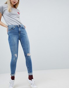 Джинсы скинни с отворотами и высокой талией New Look Jenna - Синий