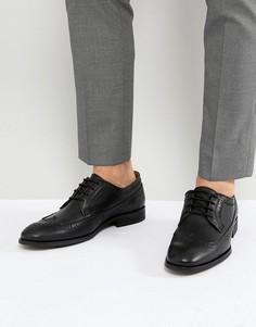 Черные кожаные броги со шнуровкой Zign - Черный