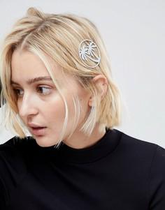 Заколка для волос с пальмой ASOS - Серебряный