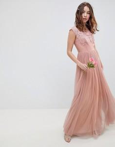 Платье макси с вышивкой ASOS DESIGN - Мульти