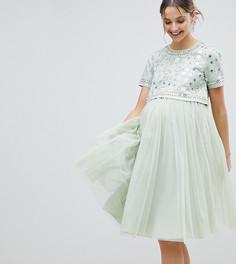 Платье миди из тюля с отделкой на кроп-топе ASOS Maternity - Зеленый
