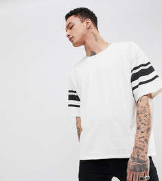 Oversize-футболка с полосками на рукавах Heart & Dagger - Белый