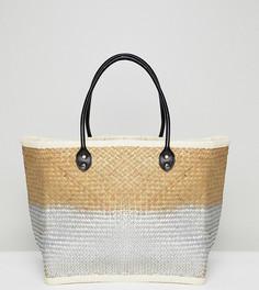 Соломенная пляжная сумка с эффектом омбре South Beach - Серебряный