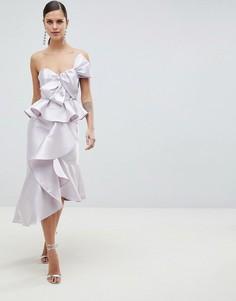 Платье-футляр миди с бантом и баской ASOS DESIGN - Серый