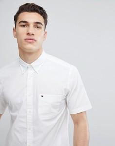 Белая поплиновая рубашка классического кроя с короткими рукавами Tommy Hilfiger - Белый