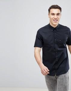 Черная поплиновая рубашка классического кроя с короткими рукавами и логотипом Tommy Hilfiger - Черный