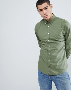 Зеленая рубашка классического кроя на пуговицах с логотипом Tommy Hilfiger - Зеленый