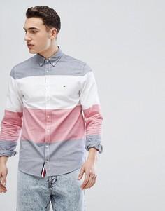 Рубашка колор блок классического кроя с воротником на пуговицах (красный/белый/синий) Tommy Hilfiger - Мульти