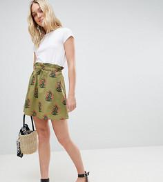 Зеленая короткая расклешенная юбка с цветочным принтом и карманами ASOS DESIGN Tall - Мульти
