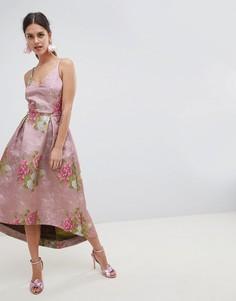 Жаккардовое платье миди для выпускного с цветочным узором ASOS EDITION - Мульти