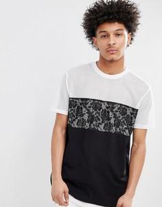 Черная удлиненная свободная футболка с кружевной и сетчатой вставками ASOS DESIGN - Черный