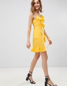 Платье мини с запахом и оборками Vero Moda - Желтый