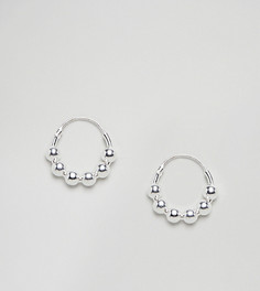 Серебряные серьги-кольца с шариками ASOS DESIGN - Серебряный
