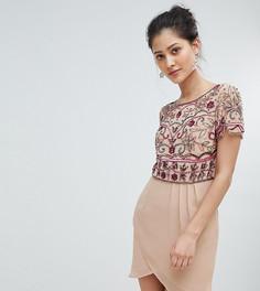 Платье мини с декоративной отделкой и запахом Frock And Frill - Розовый
