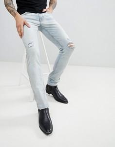 Рваные суженные книзу джинсы AllSaints - Синий