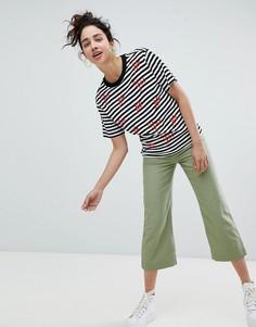 Широкие укороченные брюки цвета хаки Monki - Зеленый
