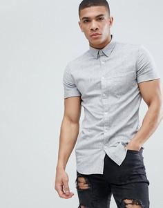 Серая меланжевая приталенная рубашка New Look - Серый