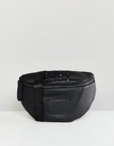 Черная сумка-кошелек на пояс с заклепками River Island - Черный
