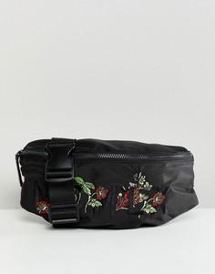 Черная сумка-кошелек на пояс с вышивкой River Island - Черный