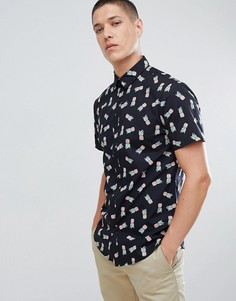 Черная рубашка классического кроя с принтом ананасов New Look - Черный