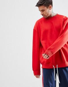 Красный oversize-свитшот с затягивающимся шнурком boohooMAN - Красный