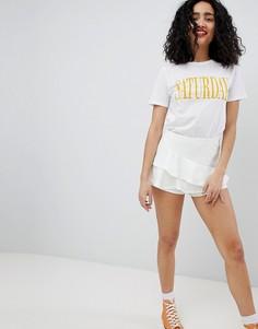 Юбка-шорты с оборками New Look - Кремовый