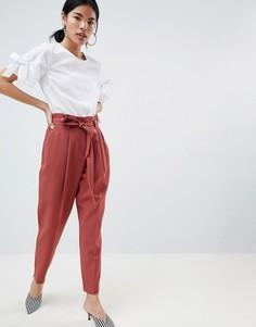 Зауженные брюки с поясом New Look - Коричневый