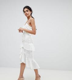 Кружевная премиум-юбка миди с асимметричными оборками True Decadence Tall - Белый