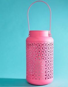 Неоново-розовый металлический подсвечник в форме фонаря Ian Snow - Мульти