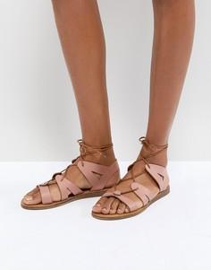 Кожаные сандалии-гладиаторы Office Saffy - Розовый