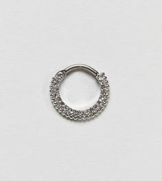 Серебряное кольцо для пирсинга со стразами Kingsley Ryan - Серебряный