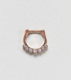 Кольцо для пирсинга цвета розового золота со стразами Kingsley Ryan - Золотой