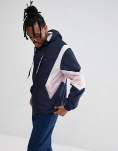 Темно-синяя куртка на молнии в стиле колор блок с капюшоном Tommy Jeans - Черный