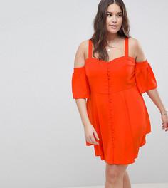 Платье мини с открытыми плечами и пышными рукавами ASOS DESIGN Curve - Красный