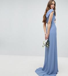 Платье макси с широким вырезом и отделкой на талии TFNC Tall Bridesmaid - Синий