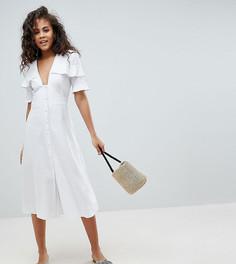 Чайное платье миди на пуговицах ASOS DESIGN Tall - Белый