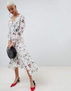 Платье с запахом и принтом ASOS - Мульти