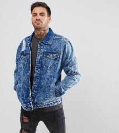 Рваная джинсовая куртка с эффектом кислотной стирки Brooklyn Supply Co - Синий