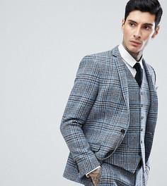 Облегающий пиджак из твида Харрис в клетку Heart & Dagger - Серый