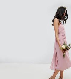 Платье миди для подружки невесты с запахом и поясом TFNC Tall - Розовый