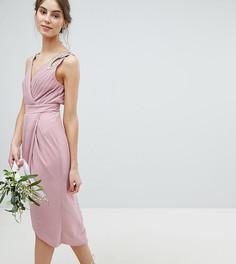 Платье миди с запахом и отделкой TFNC Tall - Розовый