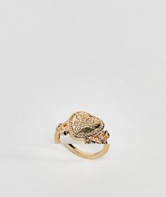 Кольцо в винтажном стиле с медальоном в форме сердца ASOS DESIGN - Золотой