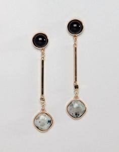 Серьги-подвески с камнем ASOS DESIGN - Золотой