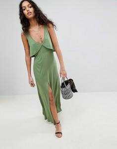 Трикотажное пляжное платье макси с оборками ASOS - Зеленый