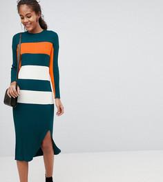 Платье в рубчик с полосками колор блок ASOS DESIGN Tall - Мульти