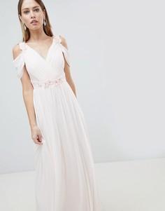 Шифоновое платье макси с открытыми плечами и цветочной 3D-отделкой Lipsy - Розовый
